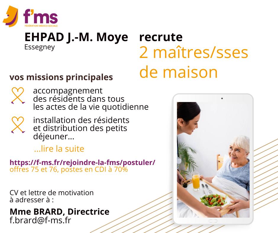FMS postuler maitre de maison HF offres 75-76